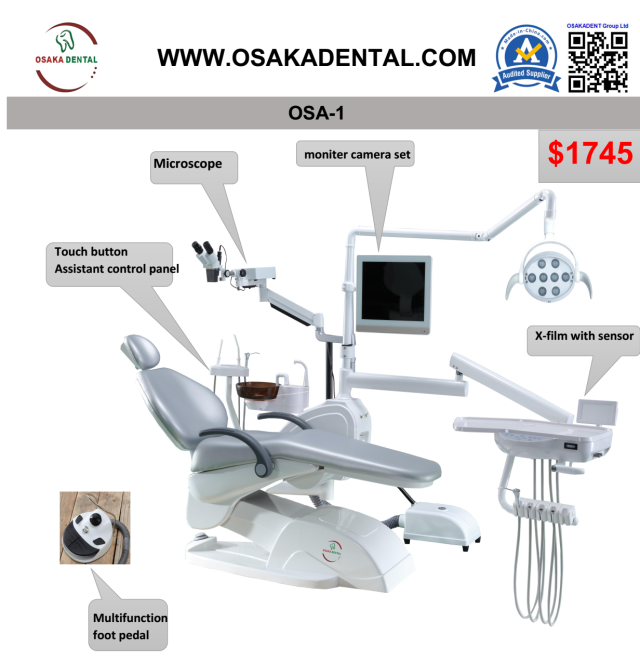 Sillón dental con microscopio con lámpara LED